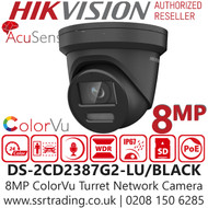 Hikvision 8MP ColorVu AcuSense Fixed Lens Black Turret Network PoE Camera - Built-in microphone - 30m White Light Range - DS-2CD2387G2-LU/BLACK (4mm)
