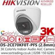 Hikvision 3K ColorVu Indoor Audio AoC 4-in-1 Turret Camera - 2.8mm lens - 20m IR White Light Range - DS-2CE70KF0T-PFS