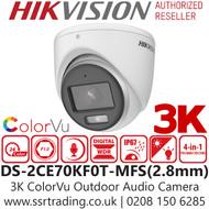 Hikvision 3K ColorVu Outdoor Audio AoC 4-in-1 Turret Camera - 2.8mm lens - 20m IR White Light Range - DS-2CE70KF0T-MFS