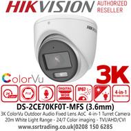Hikvision 3K ColorVu Outdoor Audio AoC 4-in-1 Turret Camera - 3.6mm lens - 20m IR White Light Range - DS-2CE70KF0T-MFS