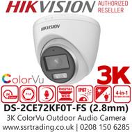 Hikvision 3K ColorVu Outdoor Audio AoC 4-in-1 Turret Camera - 2.8mm lens - 40m IR White Light Range - DS-2CE72KF0T-FS