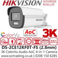Hikvision 3K ColorVu Outdoor Audio AoC 4-in-1 Bullet Camera - 2.8mm lens - 40m IR White Light Range - DS-2CE12KF0T-FS