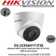Hikvision 5MP 3.6mm Fixed Lens 40m IR TVI PoC EXIR Turret Camera- (DS-2CE56H1T-IT3E)
