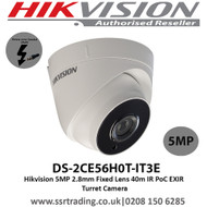 Hikvision 5MP 2.8mm Fixed Lens 40m IR PoC EXIR Turret Camera- (DS-2CE56H0T-IT3E)