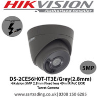Hikvision 5MP 2.8mm Fixed lens 40m IR PoC EXIR  Turret Camera - (DS-2CE56H0T-IT3E/Grey)