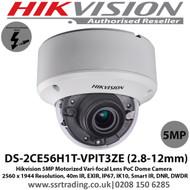 Hikvision 5MP 2.8-12mm Varifocal 40m IR IP67 IK10 EXIR PoC Dome Camera - (DS-2CE56H1T-VPIT3ZE)