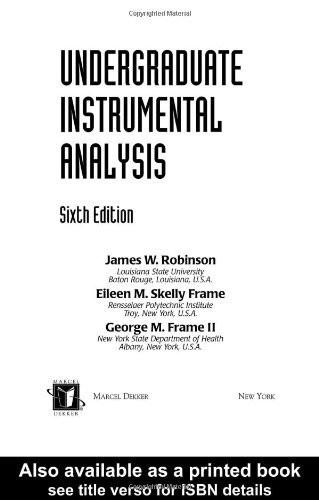 Undergraduate Instrumental Analysis