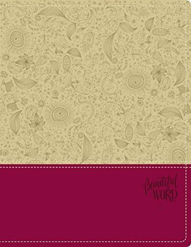 NIV Beautiful Word Bible Imitation Leather Tan/Pink