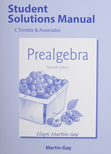 Student Solutions Manual For Pre-Algebra
