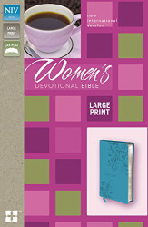 NIV Women's Devotional Bible Large Print Imitation Leather Blue by Zondervan