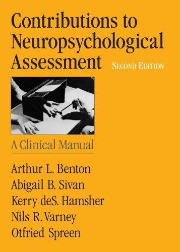 Contributions To Neuropsychological Assessment