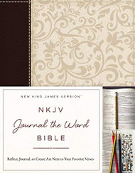 NKJV Journal the Word Bible Imitation Leather Brown/Cream Red Letter Edition