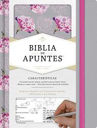 RVR 1960 Biblia de apuntes gris y floreado tela impresa