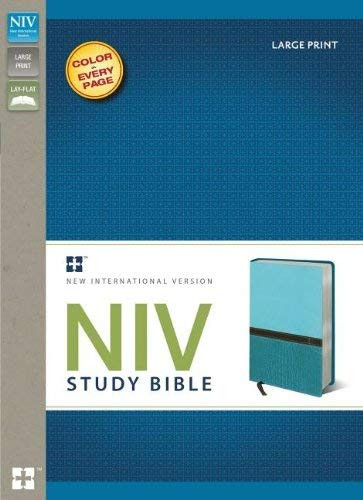 NIV Study Bible Large Print Imitation Leather Blue/Turquoise Red Letter
