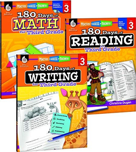 180 Days of Reading Writing and Math for Third Grade 3-Book Set