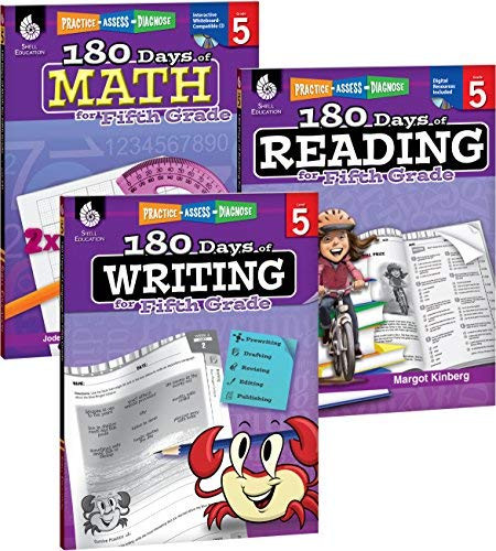 180 Days of Reading Writing and Math for Fifth Grade 3-Book Set
