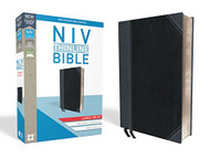 NIV Thinline Bible Large Print Leathersoft Black/Gray Red Letter Edition