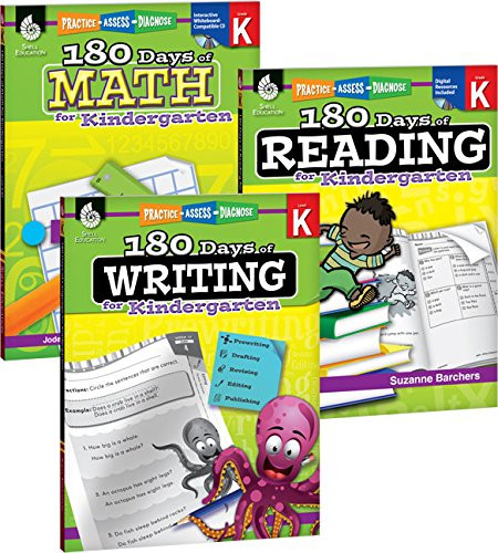 180 Days of Reading Writing and Math for Kindergarten 3-Book Set