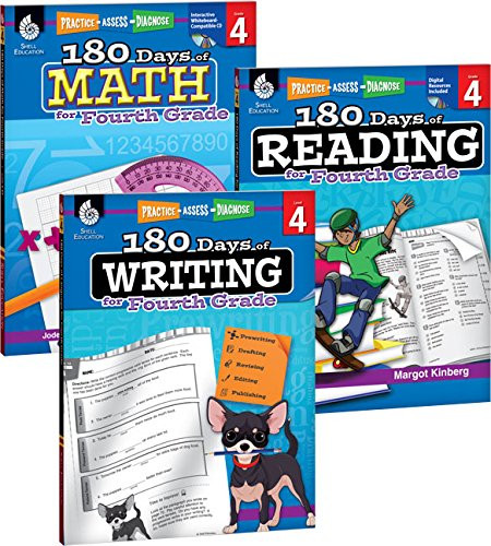 180 Days of Reading Writing and Math for Fourth Grade 3-Book Set