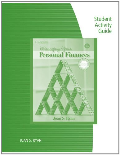Student Activity Guide for Managing Your Personal Finances