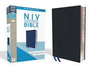 NIV Thinline Bible Bonded Leather Navy Indexed Red Letter Edition Comfort