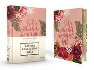 NIV Artisan Collection Bible Cloth over Board Pink Floral Designed Edges under Gilding Red Letter Edition Comfort Print