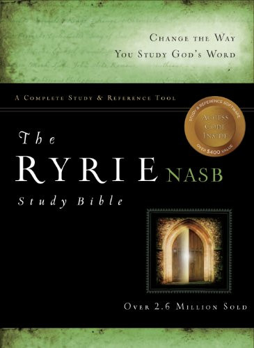 Ryrie Nas Study Bible Genuine Leather Black Red Letter Indexed