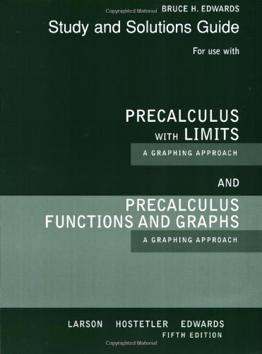 Precalculus With Limits A Graphing Approach Study And Solutions Guide By Larson