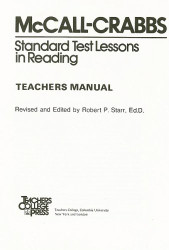 Mccall-Crabbs Standard Test Lessons In Reading Teacher's Manual