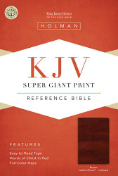 KJV Super Giant Print Reference Bible Brown LeatherTouch Indexed