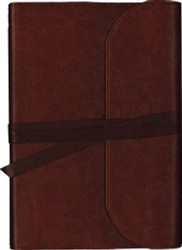NKJV Journal the Word Bible Large Print Premium Leather Brown Red Letter