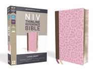 NIV Thinline Reference Bible Large Print Leathersoft Pink/Brown Red Letter