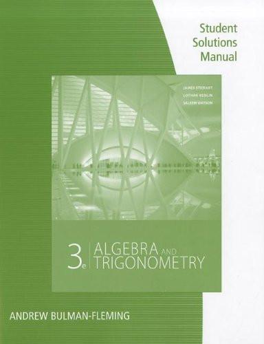 Student Solutions Manual For Stewart/Redlin/Watson's Algebra And Trigonometry 2Nd