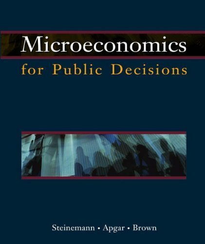 Microeconomics For Public Decisions With Economic Applications Card