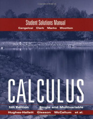 Hughes Hallett Student Solutions Manual To Accompany Calculus Combo