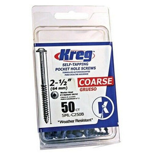 Kreg 50 Count #8 X 2-1/2in Blue-Kote Coarse Thread Pocket Screws