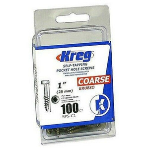 Kreg 100 Ct #7 X 1in Zinc Pan Head Coarse Thread Pocket Hole Screws