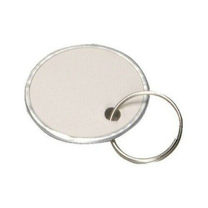 Hy-Ko 25 Pack 1 1/4 Inch White Paper ID Tags with Key Rings KC144