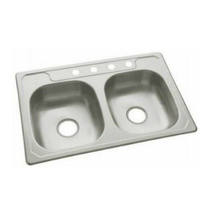 "Sterling Stainless Steel 6"" Double Basin Bowl Kitchen Sink 23 Gauge"