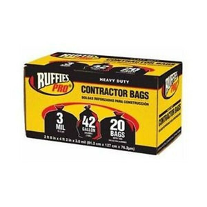 Berry CCB720 20 Pk 42 Gal 3 Mil Heavy Duty Black Contractor Trash Bags