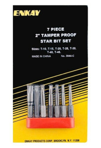 "Enkay 7pc 2"" Tamper Proof Torx Star Security Screw Bit Set (3044-C)"