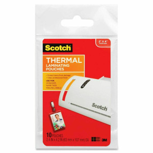 "3M ScotchThermal Laminating Pouches ID Badge w/ Clip 10PK 2"" x 4"""