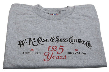 Case XX Knife Accessories Gray 125 Year Anniversary Small T-Shirt features Case 125th Anniversary Logo w/ Red Case Oval on back. 90% Cotton 10% Polyester.