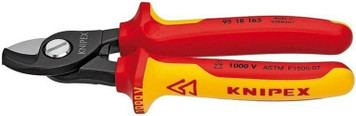 """Knipex 9518165US 6.5"""" 1000V Insulated Cable Shears"""