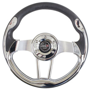 "Stens Streamline Steering Wheel 13"" Chrome/Black Club Car EZ GO Yamaha"