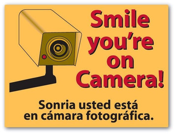 "Smile You're On Camera 9"" x 12"" Shoplifting Durable Plastic Sign"