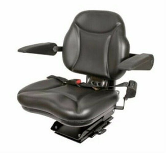 "BBS108BL New ""Big Boy"" Seat with Armrest Black For Case-IH Tractors"