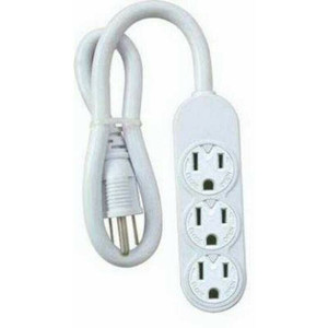 Master Electrician PS-304 Mini White 3 Outlet Power Strip Rotate Cover