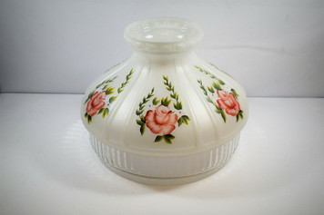 """Aladdin N602 10"""" White Over Crystal Globe With Red Roses Design"""