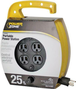 Power Zone ORCR220625 Quad Plug 25 Ft L, 4 Outlet, 16/3 AWG SJT